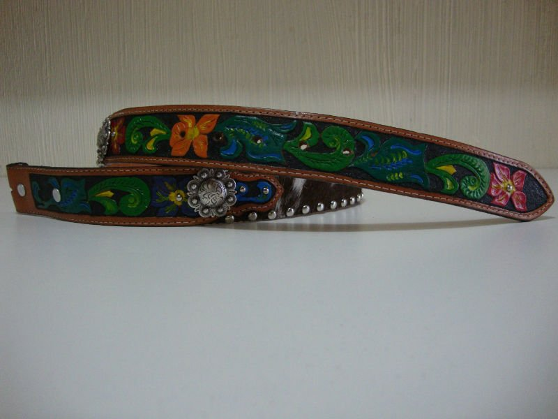Leather Belt Hand Tooled and Painted