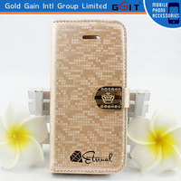 Luxury Water Cube Leather Flip Case For Samsung S4 I9500 With Crown Diamond Megnetic Flip Cover For Galaxy S4 With Stand