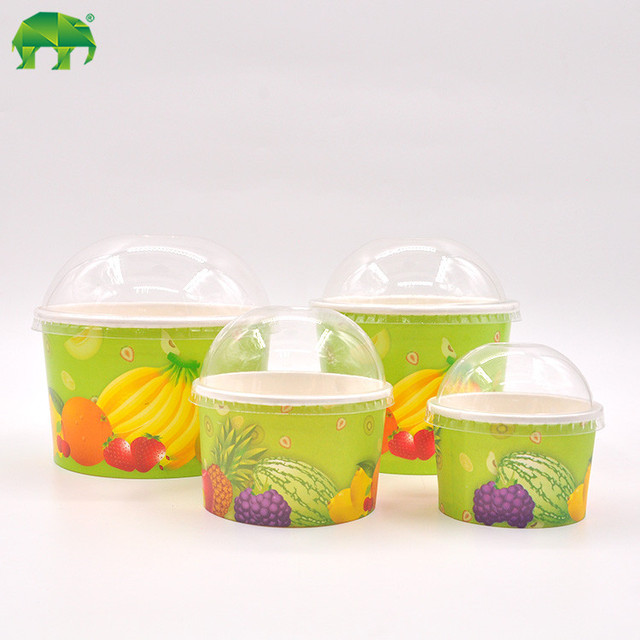 Food grade environmental friendly 100% natural icecream paper cup with lids