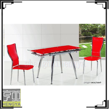 NEW desgin clear tempered glass dining table with chromed legs/table with chairs
