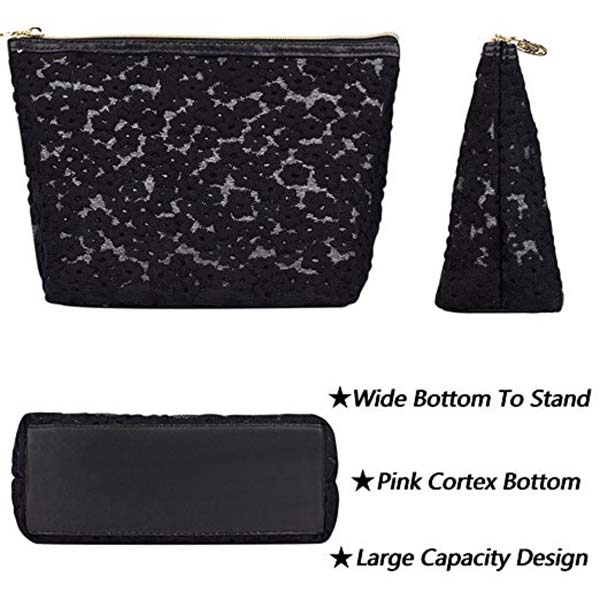 Professional factory customize high quality lace women cosmetic bag