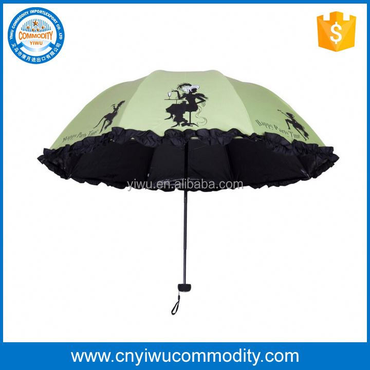 top quality blue edge black curved handle ads print straight rain umbrella