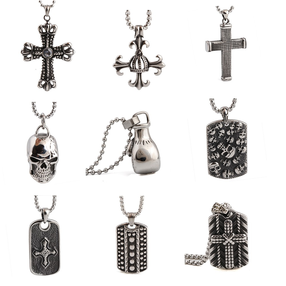 Wholesale Stock 316L Stainless Steel fashion jewelry Gothic Cross Pendant necklace for Men