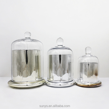 Customized handblown silver plated glass candle holder with clear candle dome Dubai hotel supplier