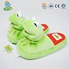 Custom cute green frog plush animal bedroom slippers for women