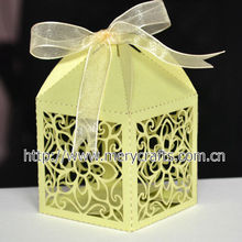 manufacturers small lemon yellow color paper loaf cake boxes with customized logo design and free ribbons