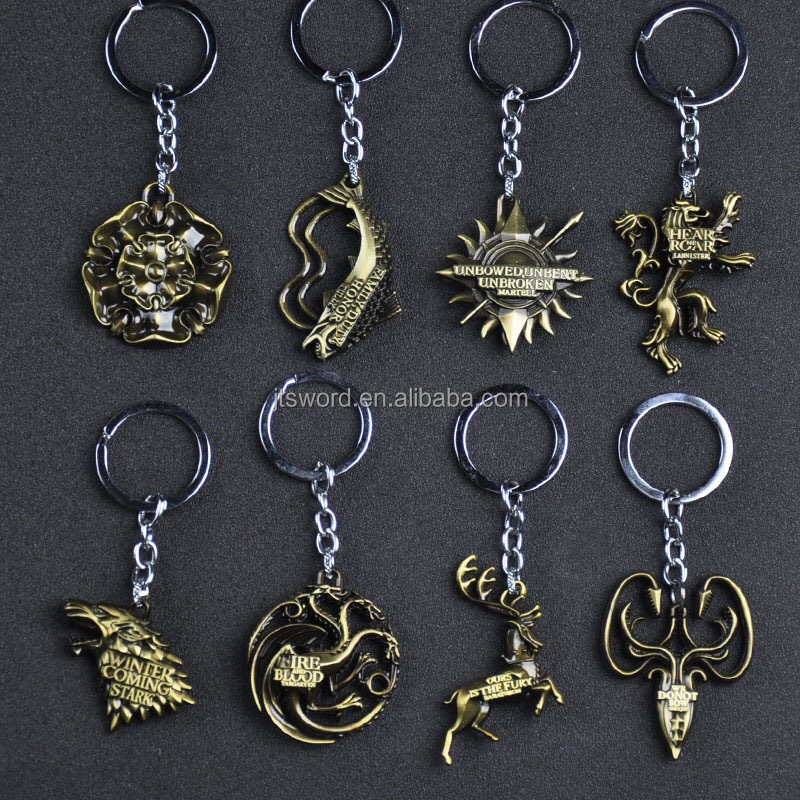 promotional movie game of thrones house metal pendant keychain souvenir