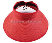 Foldable Straw Visor Hat for Sun shade Red Color