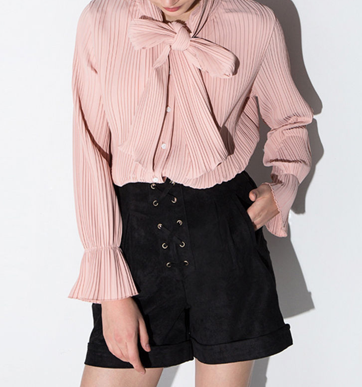 Fashion Women Casual Flare Sleeve Blouses Sexy Ladies Chiffon Blouses Fancy Pink Tops and Blouses