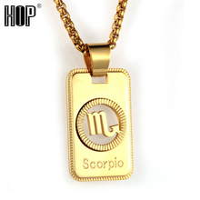 Polished Golden Symbol Fram Zodiac in Circle Hollow Dog Tag Pendant Necklace