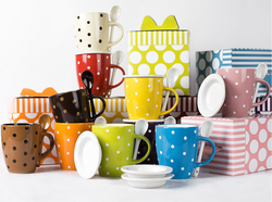 Wholesale 12oz custom bulk stoneware coffee mugs with dots design