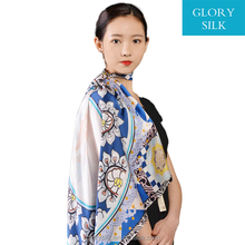 Shandong logo printed travel silk twill scarf