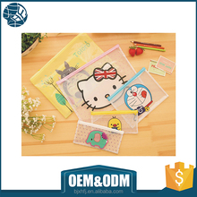 free sample cartoon pvc pencil case bags with zipper