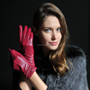 high quality goatskin gloves with wave pattern, fashion leather glove for girls