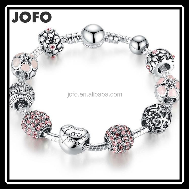 Antique Plated With Love and Flower Crystal Ball 925 Silver Charm Bracelet