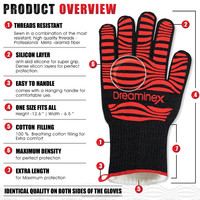 Safety Kitchen Work Grill Cooking BBQ Camping Heat Resistant Gloves, Oven Glove
