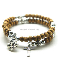2015 latest fashion wrap wood beads bracelet in high quality ,Fashional gray wood beads wrap rosary bracelet