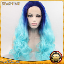 Wholesale high quality ombre blue Synthenic front lace wigs colorful cosplay synthenic wigs 14 to 30 inches in stocks