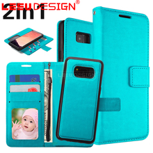 3 card slots with stand 2 in 1 leather removable wallet magnetic flip card smartphone case for samsung galaxy S8