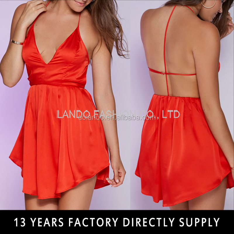 Sexy red Short Cross Back night dress for woman hot sex women pictures