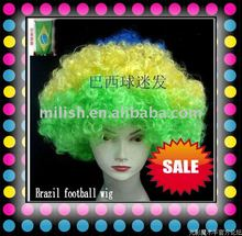 2012 World Cup Football Sports fans Brazil flag cheer team Wig Party FBW-0014