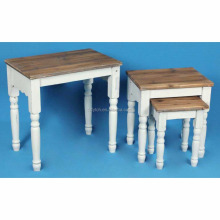 Retro furniture 3 piece durian white nesting stool coffee table