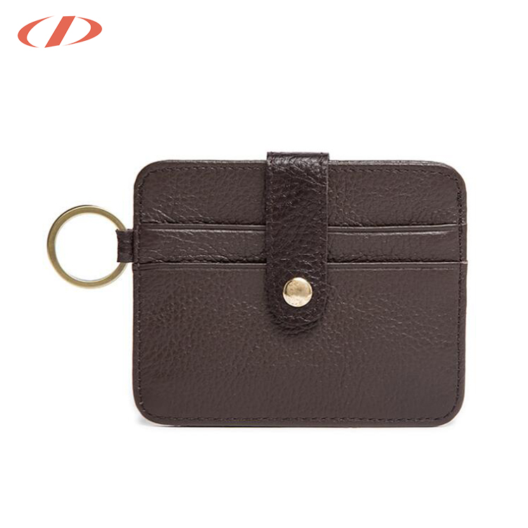 Brown mini keychain leather credit card holder business name card holder with keychain