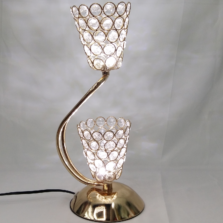 Gold plated Energy saving white color table lamp light crystal shade lamp double head desk lamp led