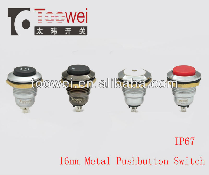 waterproof 16mm metal pushbutton switch ip67 with led