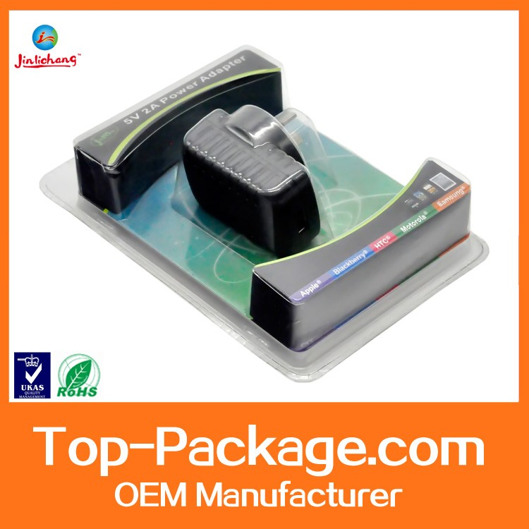 clear plastic clamshell packaging for power adapter