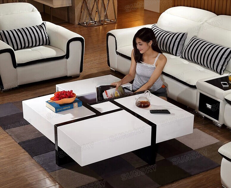 MDF modern Furniture wooden coffee table with 4 drawers 1457A