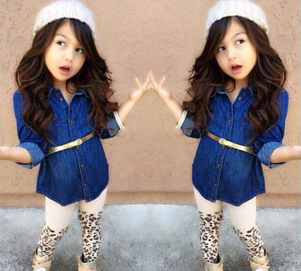 Baby Girl Clothes Small Order Supplier Low Price Clothes For Children T Shirt Denim Jacket Girls Leopard Legging Sets