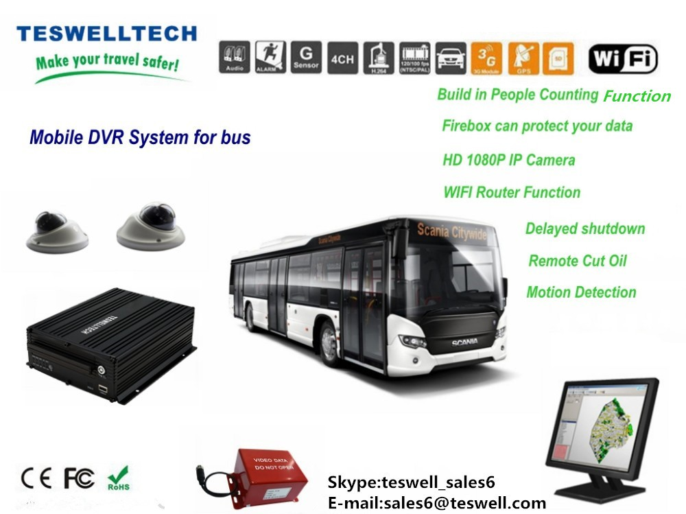 HDD Blackbox Car 4 Channel 4g gps wifi functional Mobile DVR support free cms b/s playback software