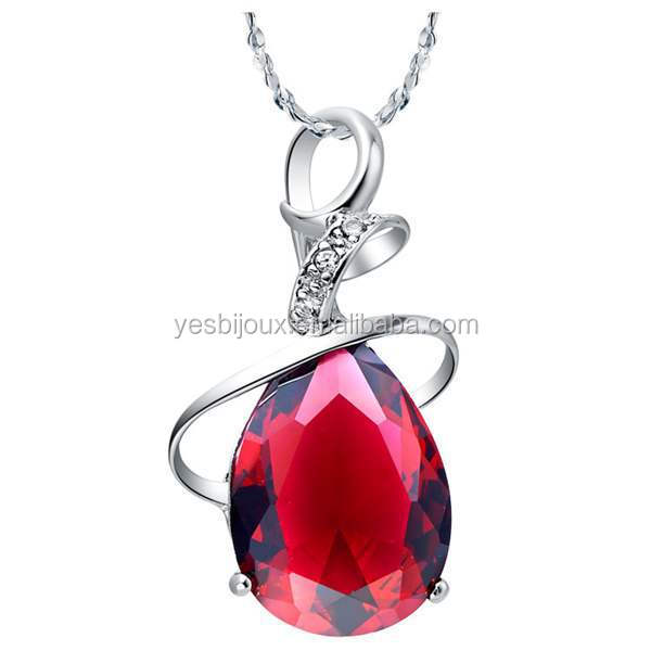 Brand Jewelry Design crystal Pendant necklace ruby cristal jewelry