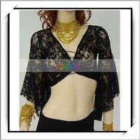 Hot Selling Fashion Belly Dance Costume Lace Top Black