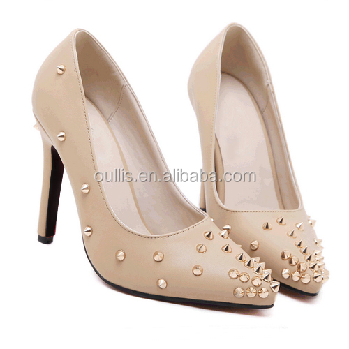 fashion pumps with rivets ladies high heel shoes in china factory PY3805 Pola Beauty Shoe Factory MOQ80 Customized size 35-42