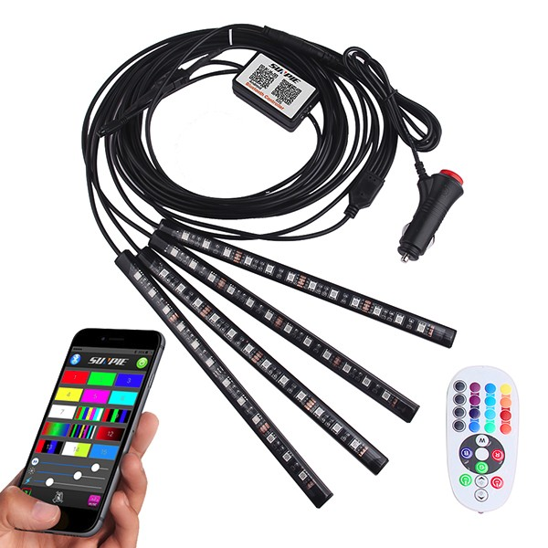 Car Dashboard Interior Motorcycle Ambient Light 4 in ONE Phone APP Bluetooth Controller IR Remote LED RGB Strip Light