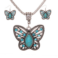 Yiwu Ruigang Hot Sale Butterfly Turquoise Wedding Jewelry Sets