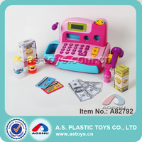 Plastic Supermarket Cash Register Toys for kids with Real Counter, Scanner, Microphone, Sound and Light