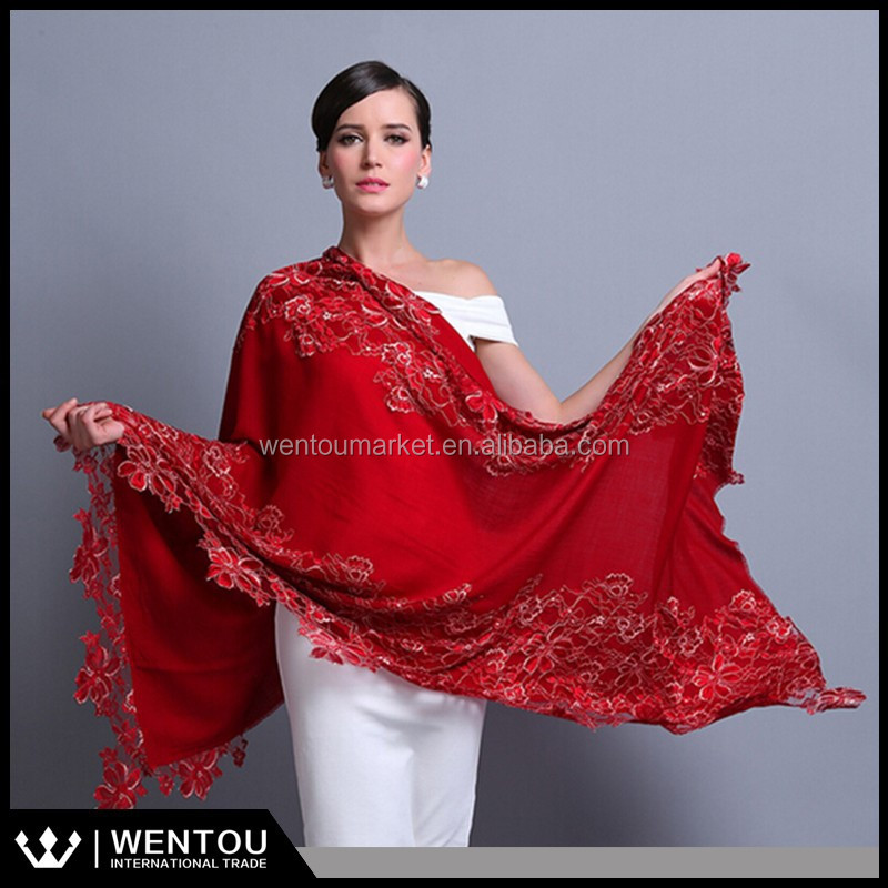 2015 New Arrival High Quality 100% Cashmere Shawls With Lace Warp Stoles
