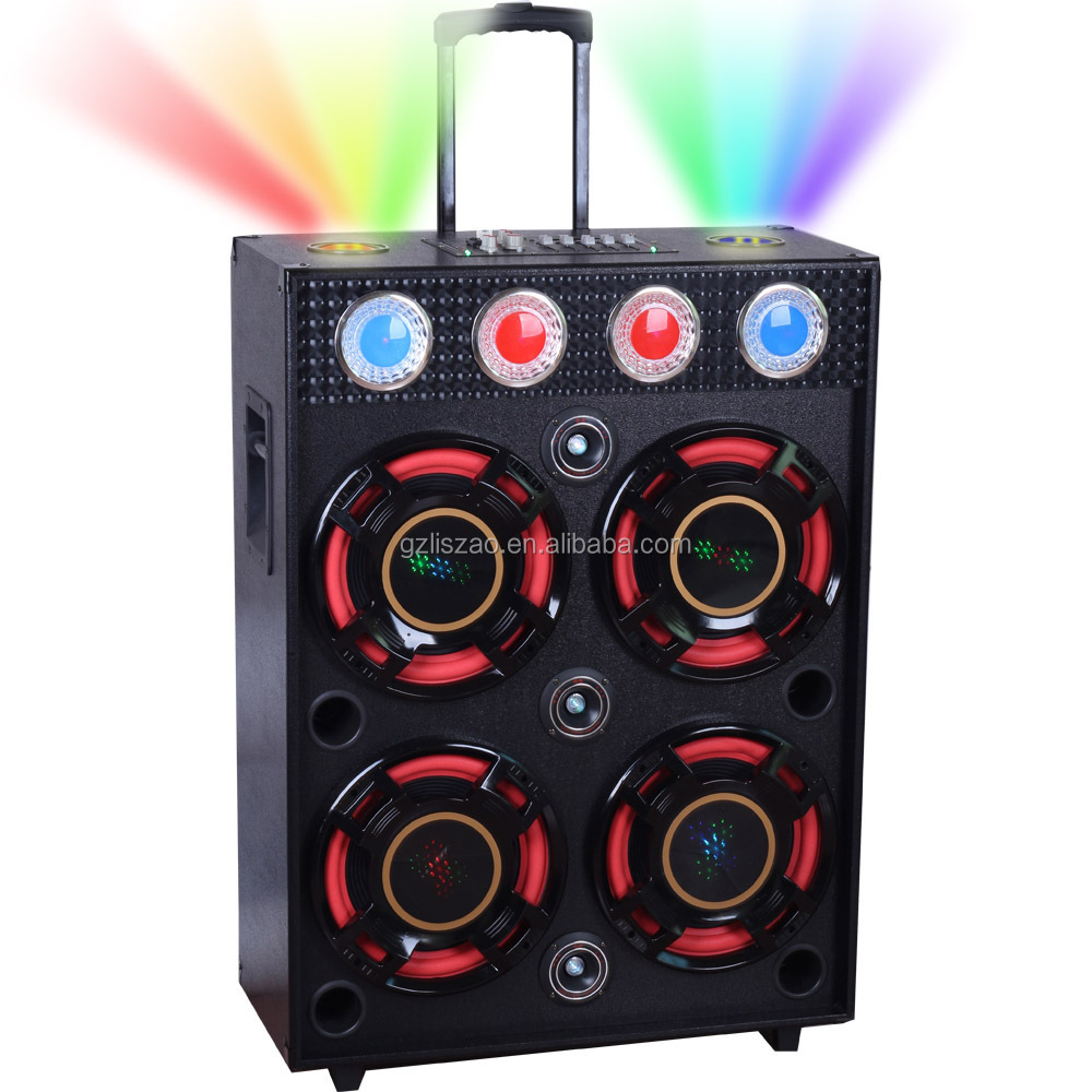 12 inch woofer speaker with poewer amplifier With LED colorful magic DJ stage light