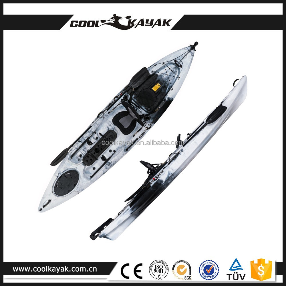 Single kayak with pedals and rudder made in china buy for Fishing kayaks with pedals