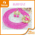 Best Price Guangzhou Direct Manufacturer African Beads Jewelry Sets Pink Color BJ0012-2