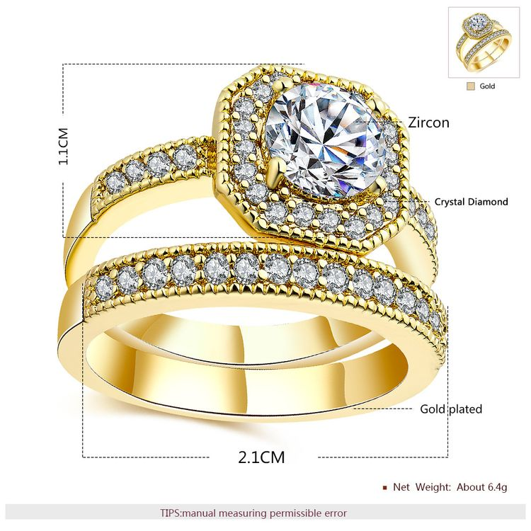 2018 New Arrivals Jewellery Square Cut Diamond Dubai 18 K Real Gold Plated Wedding Ring Jewelry Women