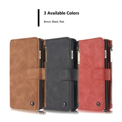 For iPhone 6 plus Case Genuine Leather Wallet Case with Credit Card Slots, Magnetic and Detachable Back Cover and zipper wallet