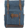 Outdoor Genuine Leather Canvas Vintage School Bag