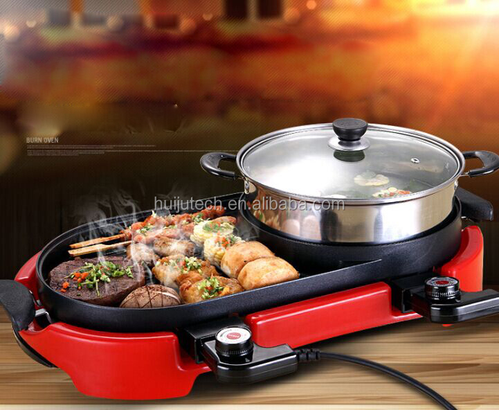 No Smoking Korean Electric Bbq Grills With Hot Pot Pan