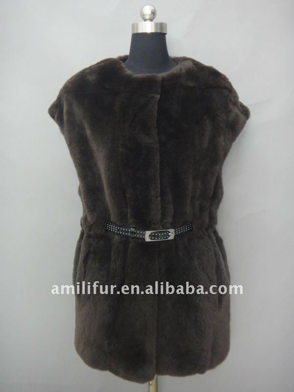 Top Quality New Release Fashion Ladies Rex Coat With Belt 2012/2013(STY/NO.B118)