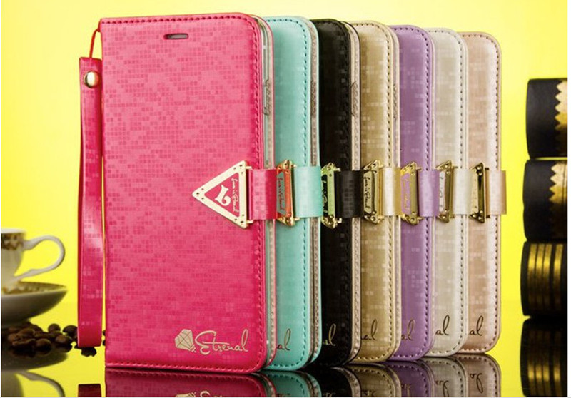 2015 Top Quality Leiers Brand Fashion Diamond Pattern Flip Stand Leather Case Cover For Iphone 5 5S With Card Slot And Rope