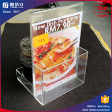 Custom made magnetic acrylic menu holder with paper insert / menu card holder